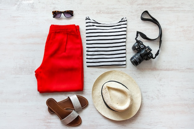 Casual spring/summer female clothing set. vacation clothes and accessories concept.