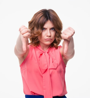 Casual woman showing thumb down sign