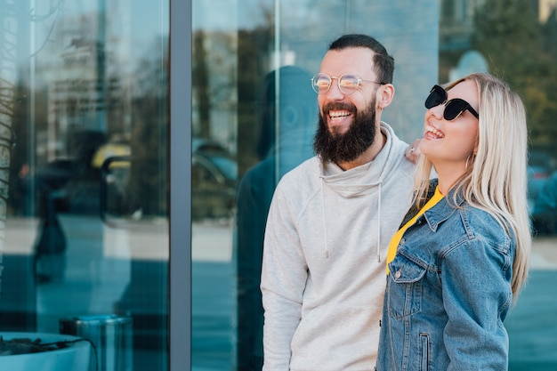 Casual young couple urban lifestyle smiling young man and woman