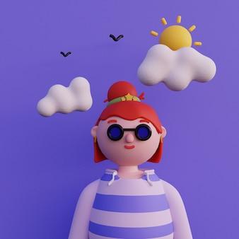 短い髪のパーカーに眼鏡をかけたカジュアルな若い女の子 最小限のアート スタイルの若い女の子のアバター 漫画の女の子のキャラクターの明るいポートレート 3 d レンダリング