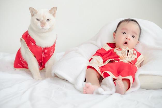 中国の赤いスーツを着て猫と男の子