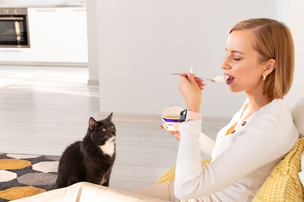 Cat begs for food from her owner eating yogurt
