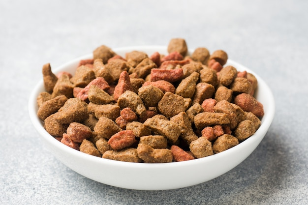 Cat food in a bowl