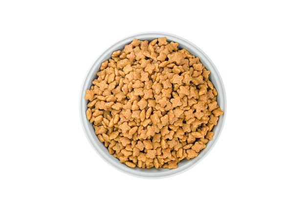 Cat food in gray cup isolated on white background