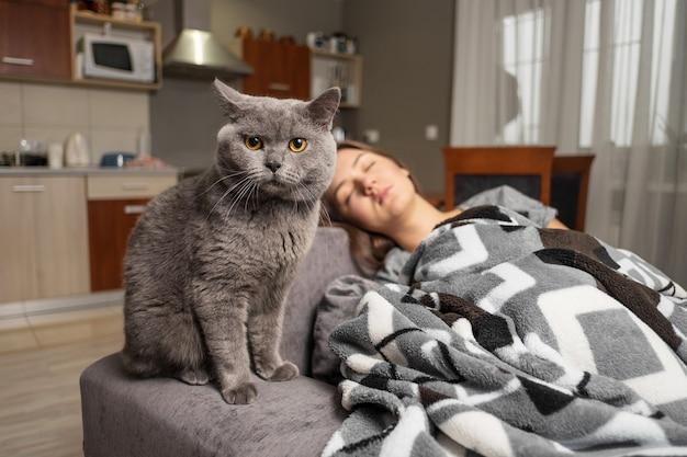Кошка сидит рядом со спящей девушкой
