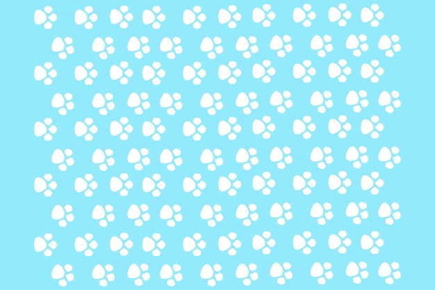 Cat's paws on a blue background, seamless pattern for print design
