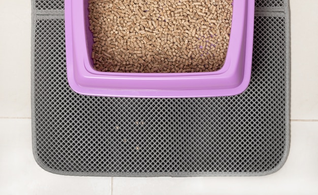 A cat tray for a toilet with wood ecological filler on a waterproof mat.