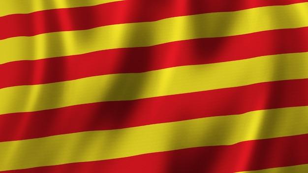 패브릭 질감으로 고품질 이미지로 근접 촬영 3d 렌더링을 흔들며 카탈로니아어 플래그