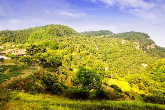 여름에 카탈로니아 어 산 풍경