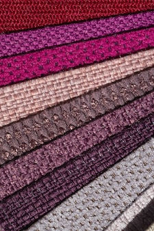 Catalog of fabric in pink purple shades