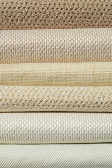Catalog of fabric in white beige shades