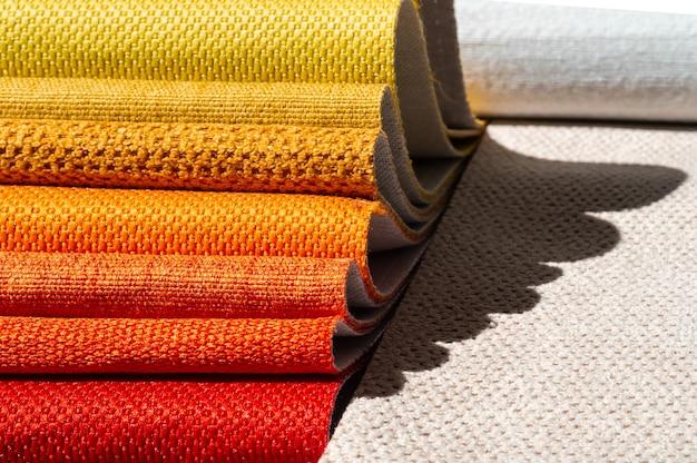 Catalog of fabric in yellow orange shades