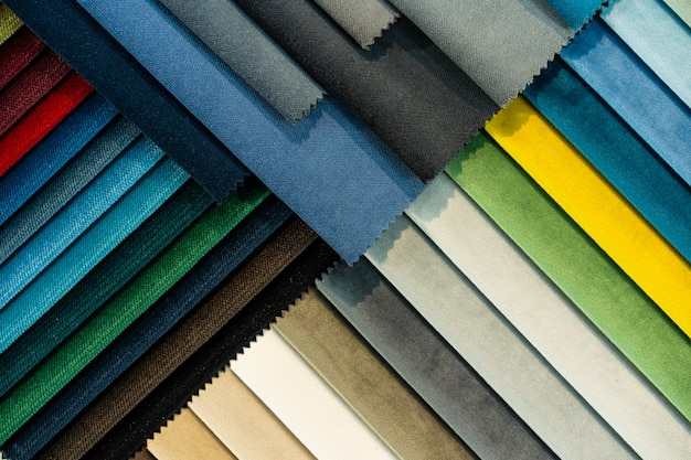 Catalog of multi-colored fabric samples