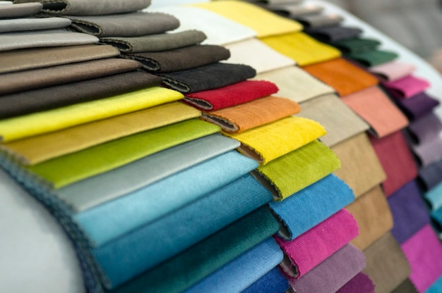 Catalog of multicolored cloth from matting fabric texture background, silk fabric texture, textile industry background with blurred, colored cotton fabric,macro, tissue catalog