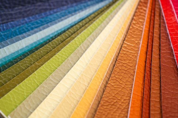 Catalog of multicolored imitation leather from matting fabric texture background, leatherette fabric texture