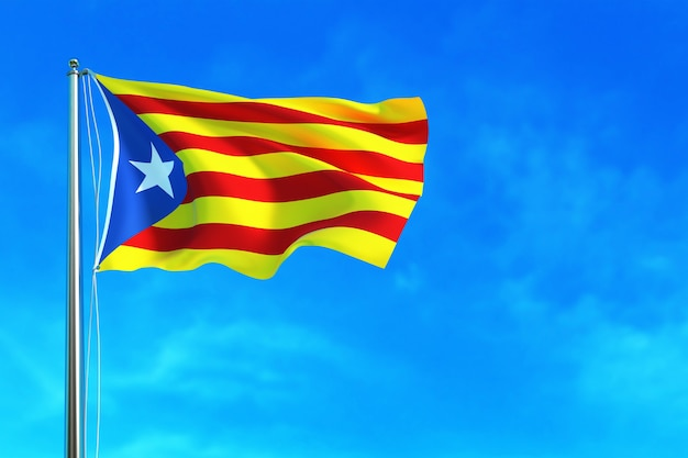 Catalonia flag on the blue sky background