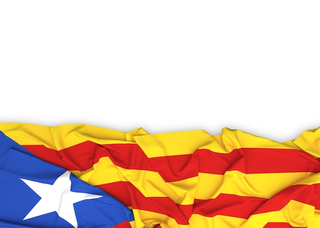 Catalonia flag on white background with clipping path