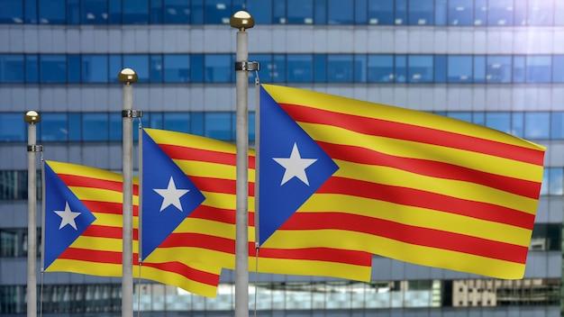 現代の超高層ビルの街で手を振っているカタロニア独立旗