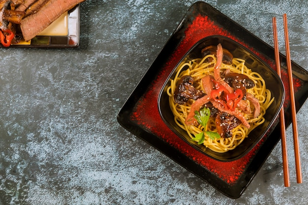 Catelli noodles with vegetables and beef . asian food.