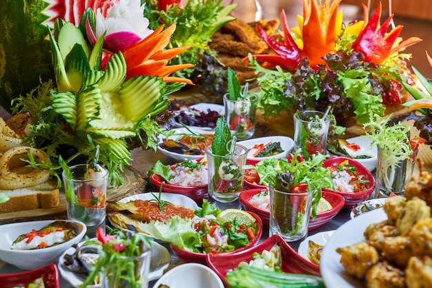 Catering buffet food in luxury restaurant
