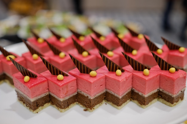 Catering food, dessert and sweet, mini canapes, snacks and appetizers, food for the event, sweetmeat