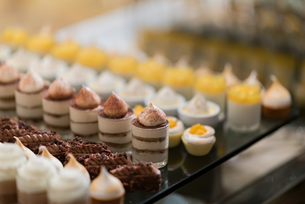 Catering food, dessert and sweet, mini canapes, snacks and appetizers