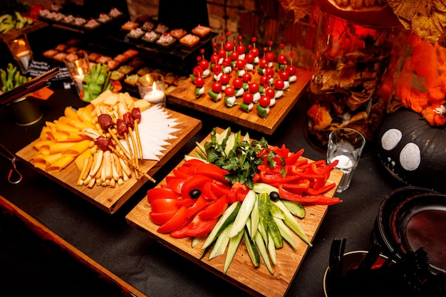 Catering food. snacks on a banquet table. Premium Photo