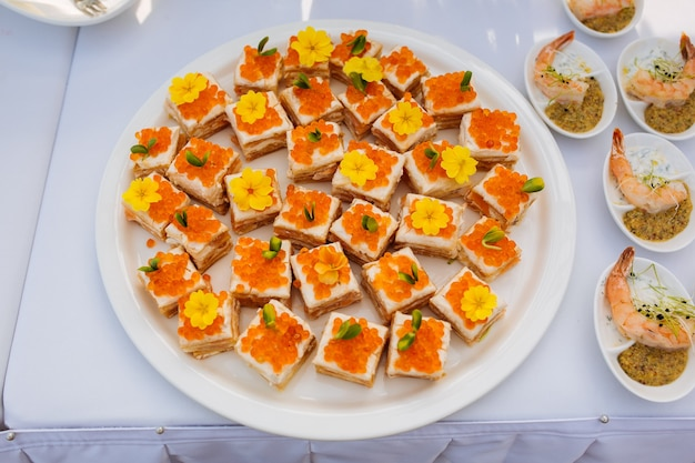 Catering food on table, top view