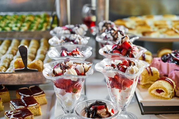 Catering services with snacks in restaurant