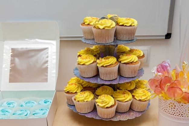 케이터링, 어린이 생일 파티의 달콤한 테이블. 마시멜로, 머핀, 사탕 i