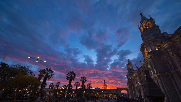 Cathedral of arequipa, peru, stunning sky at dusk