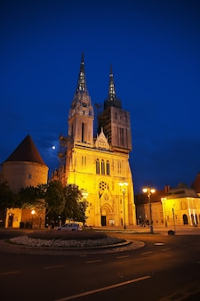 Cathedral of the assumption at night in zagreb of croatia