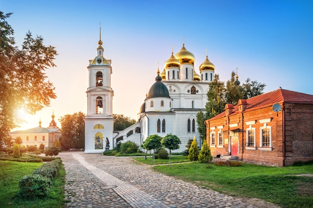 Cathedral and bell tower of the kremlin in dmitrov