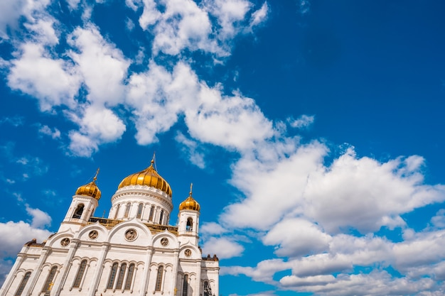 Cathedral of christ the saviour against a blue sky with clouds in moscow, russia