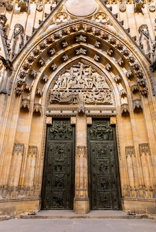 Cathedral church entrance, prague, czech republic, europe. european town, famous place for travel and tourism