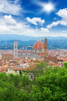 Cathedral church santa maria del fiore over old town of florence, italy