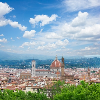 Cathedral church santa maria del fiore at summer day, florence, italy