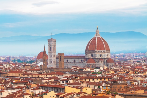 Cathedral church santa maria del fiore at sunrise, florence, italy