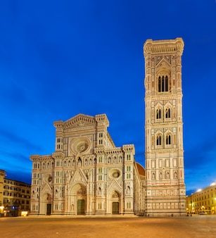 Cathedral church santa maria del fiore with towerbell at night, florence, italy