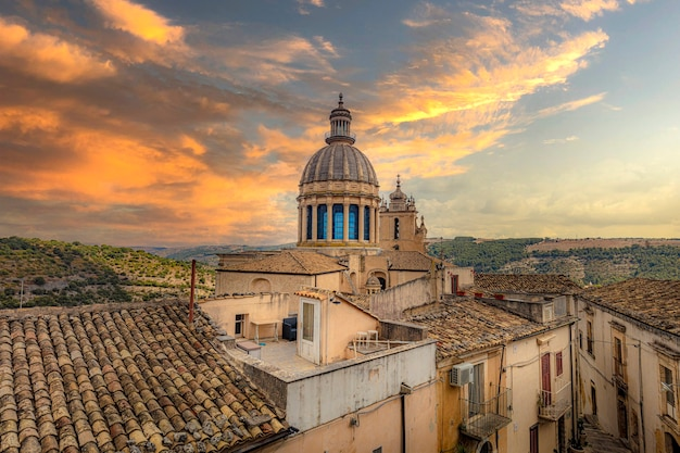 Cathedral of san giorgio in ragusa at sunset, sicily.