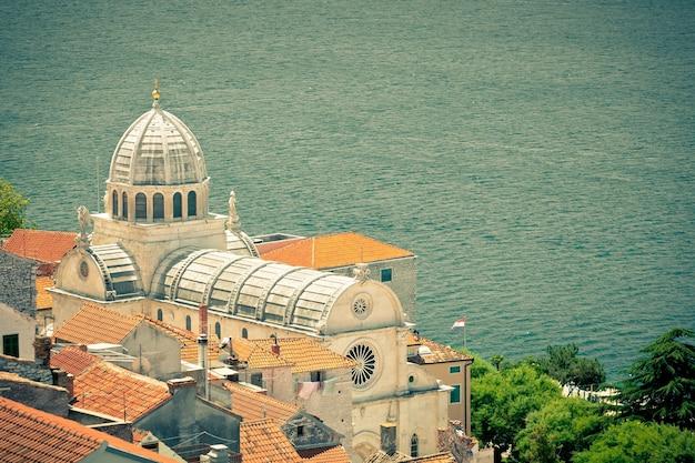 Cathedral of st. james in sibenik, croatia. unesco world heritage site. retro filtered shot