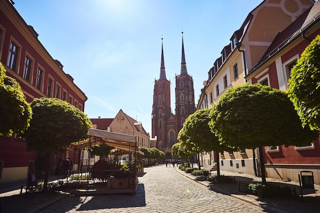 Cathedral of st. john the baptist, on tumski island in wroclaw city - a popular tourist sight in poland