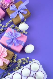 イースターセットブランチcatkins白い卵とギフトボックスを設定します。