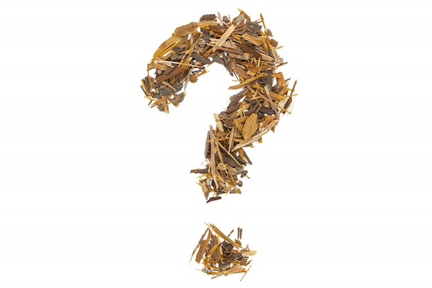 Catuaba bark tea, isolated question mark.