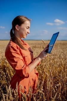 穀物の分野をチェックし、タブレットからクラウドにデータを送信する白人農学者