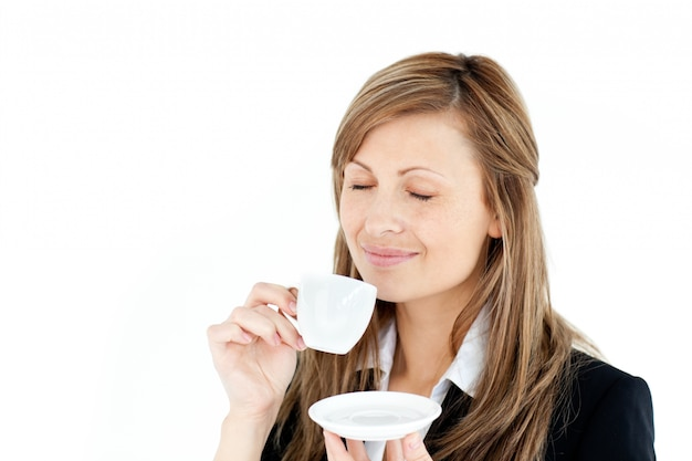 Caucasian blond businesswoman enjoy her coffee