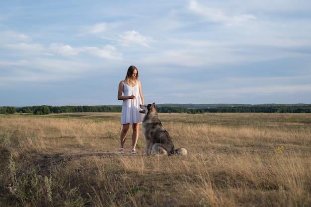 Кавказская блондинка в белом платье стоит с собакой аляскинского маламута и тренирует ее в летнем поле. красивое небо. наслаждаться свободой и проводить время вместе. любовь и дружба между человеком и животным.