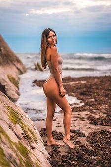 岩と海の横の自然環境で茶色の水着と白人ブルネット