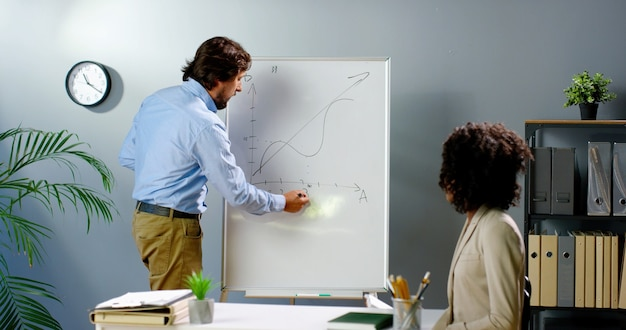 Caucasian businessman standing at board and explaining formulas and business strategy to african american woman. coworking concept. mixed-races male and female talking in office. multi-ethnic partners