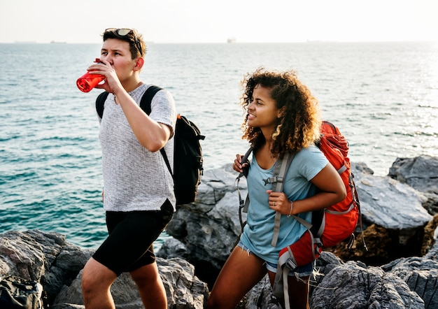 Caucasian couple traveling together